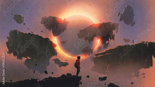 chłopiec stojący na skraju urwiska, patrząc na zaćmienie i skały unoszące się w powietrzu, styl sztuki cyfrowej, malarstwo ilustracyjne