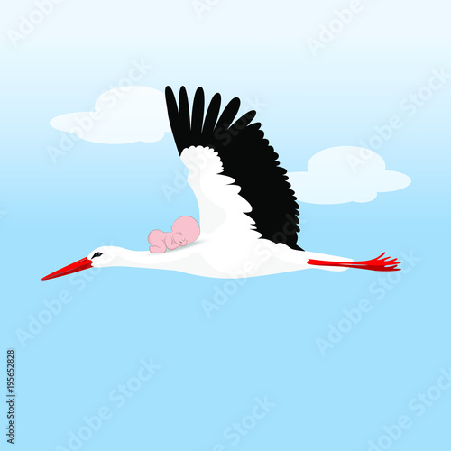 Fotografie, Obraz A flying stork with a baby on his back against the sky