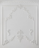 White wall decorated with stucco molding - 195657882