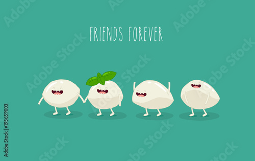 This is a vector illustration  The funny mozzarella are
