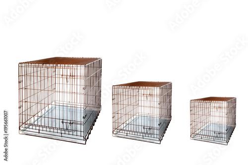Fotografie, Obraz  Cage crate Isolated background. Large Dog Crates