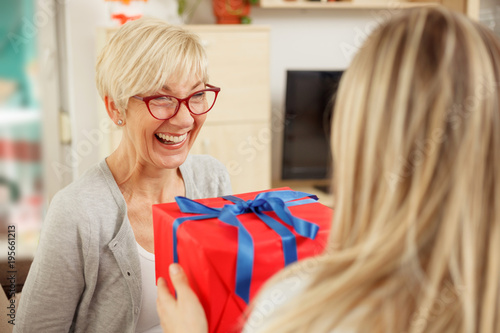 Fotografie, Obraz  Young woman giving red gift box to her mother