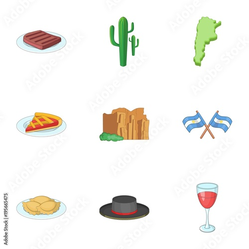 Fotografie, Obraz  Typical Argentina icons set, cartoon style