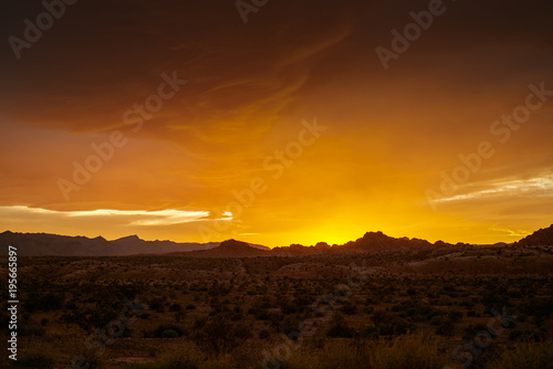 Foto op Plexiglas Zandwoestijn colorful golden sunset over nevada desert