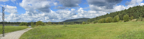 Tuinposter Pistache Panoramic of Landscape with Trail through Meadows and Forests in Late Summer, Bavaria, Germany