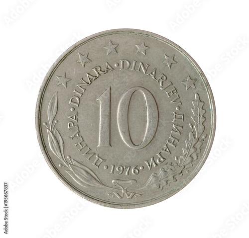 Fotografering  Vintage 10 dinar coin made by Yugoslavia 1976