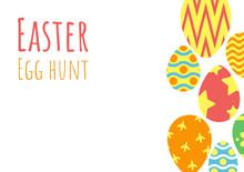Happy Easter Background, Easter Egg Hunt Template, Vector Illustration