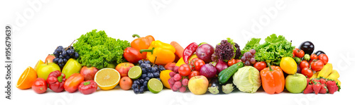 Foto auf Leinwand Frischgemüse Panorama bright vegetables and fruits isolated on white