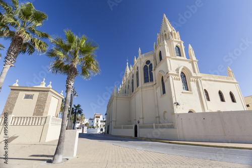 Staande foto Tunesië Sanctuary of Nuestra Senora de la Regla, maritime promenade of Chipiona, Andalucia.Spain.