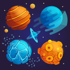 set of cartoon planets. vec...