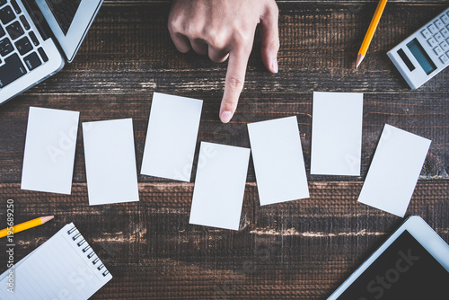 Photo ビジネスイメージと複数のカード