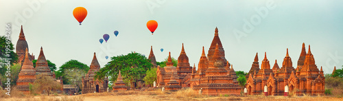 Balloons over Temples in Bagan. Myanmar. Panorama Canvas Print