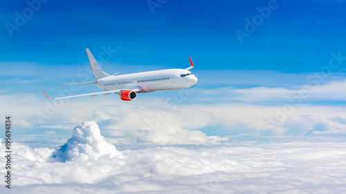 White airplane flying above cloud Wallpaper Mural