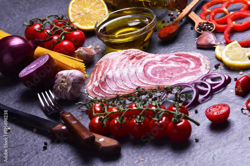 Italian bacon with spices and vegetables