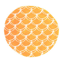 Mermaid Scale On Watercolor Background. Bright Colors. Hand Drawn Round Backdrop With Mermaid Scale Ornament. Fish Tail Banner And Invitation. Girl Underwater And Sea Pattern. Orange Vector.