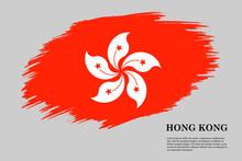 Hong Kong Grunge Styled Flag. Brush Stroke Background