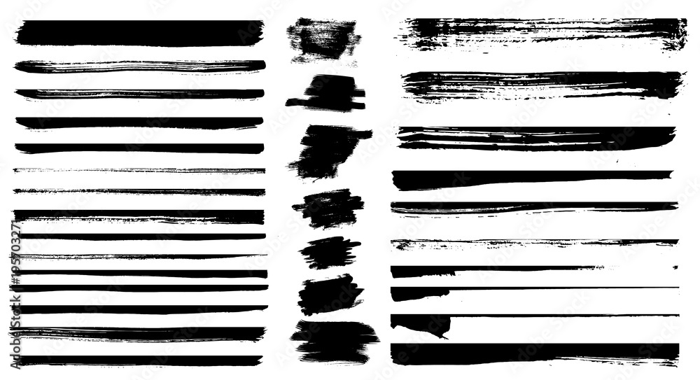 Fototapeta Set of different grunge brush strokes. Set of grunge dividers.