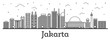 Outline Jakarta Indonesia City Skyline with Modern Buildings Isolated on White.