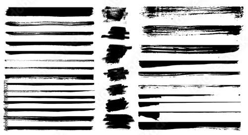 Obraz Set of different grunge brush strokes. Set of grunge dividers. - fototapety do salonu