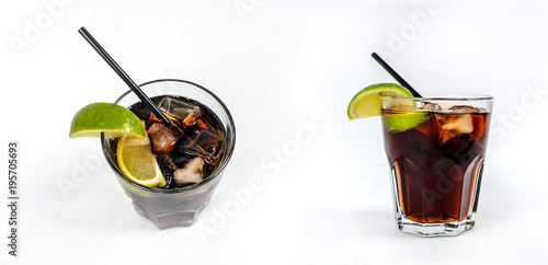 Alcoholic cocktail: Rum and cola  with ice cubes, lime Wallpaper Mural