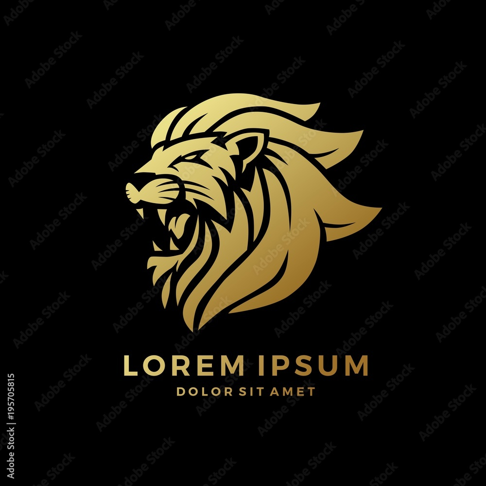 Fototapeta roaring lion logo king gold on black background vector download