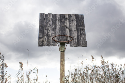 Old basketball backboard and basket Canvas Print