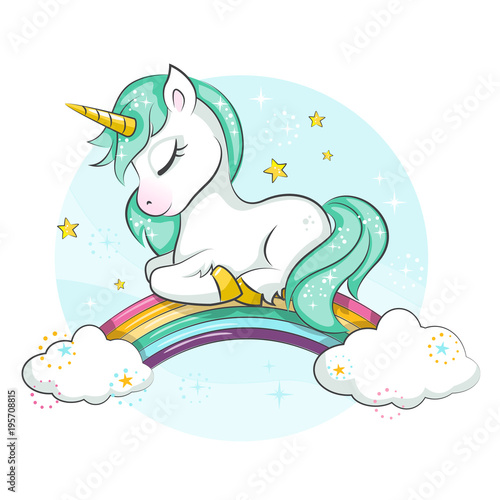Plakaty do pokoju dziewczynki little-pony-cute-magical-unicorn-and-rainbow-vector-design-isolated-on-white-background-print-for-t-shirt-or-sticker-romantic-hand-drawing-illustration-for-children