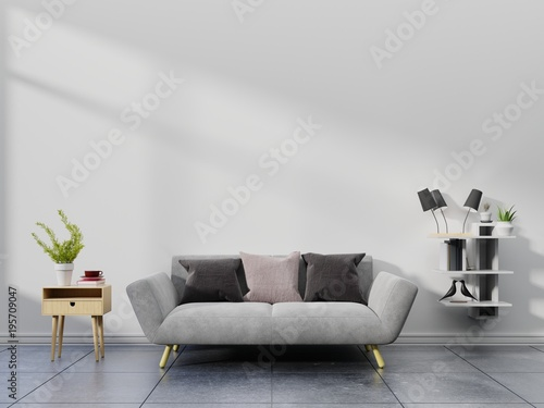 Fototapeta Modern living room interior with sofa and green plants,lamp,table on white wall background. 3d rendering. obraz na płótnie