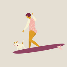 Girl Surfer With The Dog Illustration In Vector.