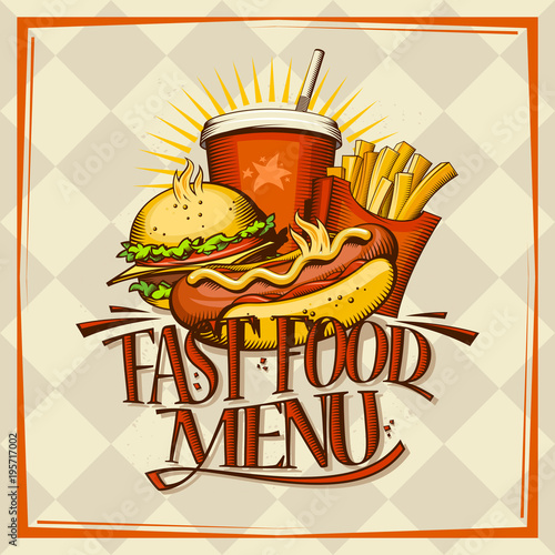 Fotografía  Fast food menu design concept