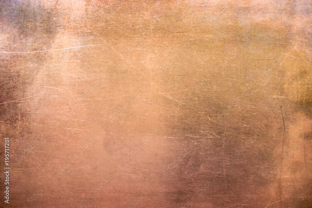 Fototapety, obrazy: Vintage bronze or copper plate, non-ferrous metal sheet as background