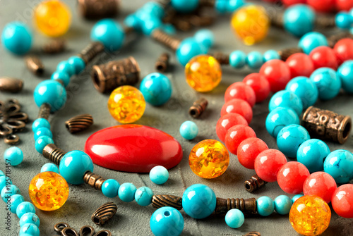 Fotografie, Obraz Natural stones, tools, beads, accessories for making jewelry