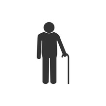 Old Man With A Cane. Grey On White Background. Flat Design. Vector Illustration.