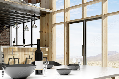 Poster Airport Contemporary loft interior with furniture
