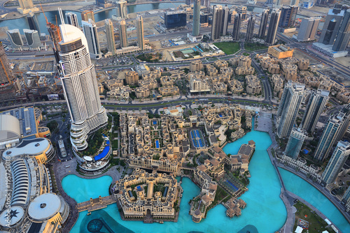 Aerial view of Dubai downtown