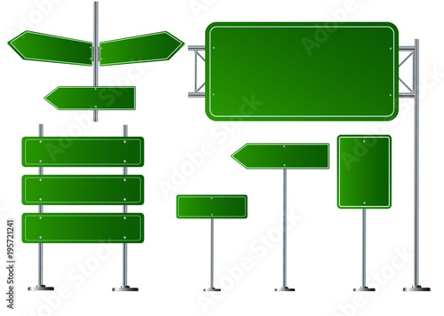 Fotografía  Set of road signs isolated on transparent background