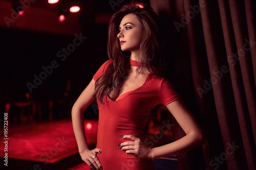 Fotografia, Obraz  Gorgeous beauty young brunette woman wearing red dress