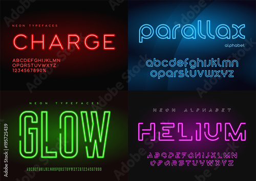 Fotografía  Set of glowing neon vector typefaces, alphabets, letters, fonts,