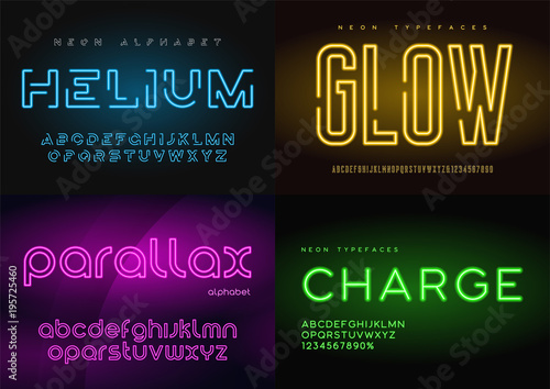 Set of glowing neon vector typefaces, alphabets, letters