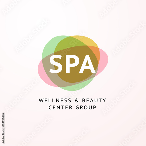 Vector Transparent Beauty Spa And Yoga Logo With Stylized Stone