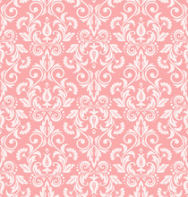 Floral Pattern. Wallpaper Baroque, Damask. Seamless Vector Background. White And Pink Ornament