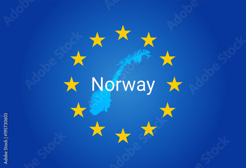 Photo  EU - European Union flag and Map of Norway. vector