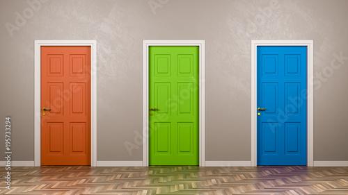 Fototapeta Three Closed Doors in the Room obraz