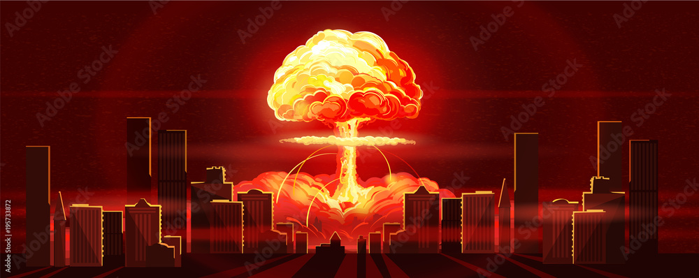 Fototapety, obrazy: Atomic bomb in city. Symbol of nuclear war, end of world, dangers of nuclear energy. Nuclear explosion