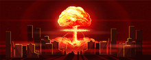 Atomic Bomb In City. Symbol Of...