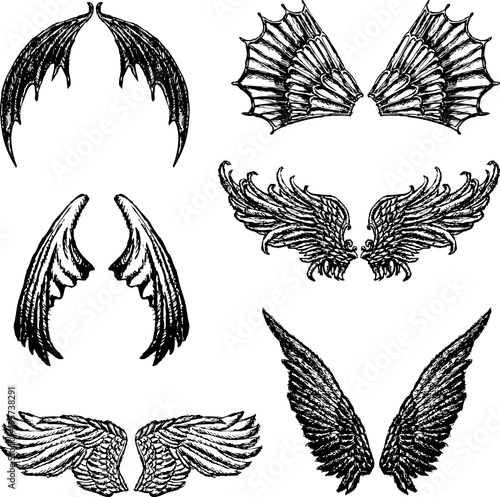 Set of the different demons wings Fototapet
