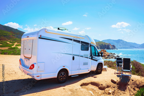 Photo Camper in Capo Pecora resort at Mediterranean sea Sardinia