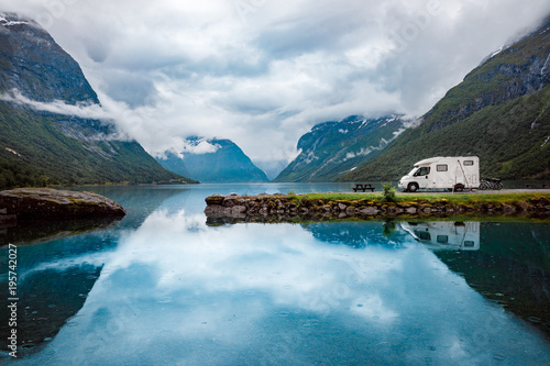Foto op Aluminium Scandinavië Family vacation travel RV, holiday trip in motorhome