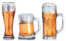 Hand Drawn Watercolor Illustration Of Beer Glasses.