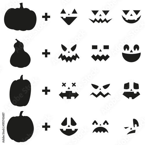 pumpkin carving ideas jack o lantern face set vector design rh stock adobe com